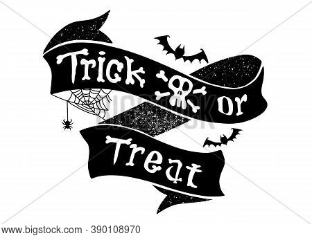 Trick Or Treat Isolated Quotes And Design Elements. Holiday Illustration. Hand Drawn Doodle Letters,