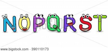 Set Of Vector Alphabet Funny Cartoon Styled Hand Drawn Font With A Colorful N O P Q R S T Capital Le