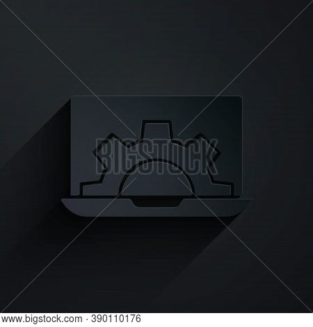 Paper Cut Software, Web Development, Programming Concept Icon Isolated On Black Background. Programm