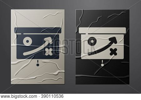 White Planning Strategy Concept Icon Isolated On Crumpled Paper Background. Cup Formation And Tactic