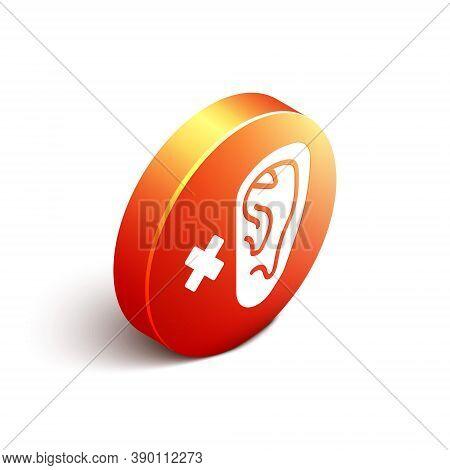 Isometric Deafness Icon Isolated On White Background. Deaf Symbol. Hearing Impairment. Orange Circle