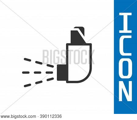 Grey Inhaler Icon Isolated On White Background. Breather For Cough Relief, Inhalation, Allergic Pati
