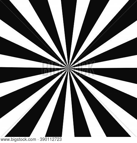 Abstract Optical Illusion Background Vector Design. Psychedelic Striped Black And White Backdrop. Hy