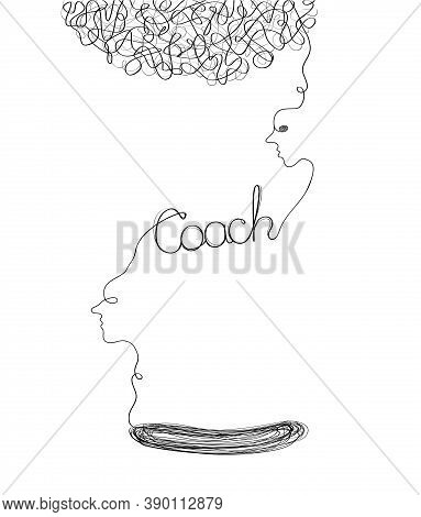 Personal Growth, Development, Evolution Icon. Tangled And Unraveled Tangle, Insight, Mentor. Coachin