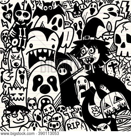 Happy Halloween Illustration, Wolfman, Spooky, Vampire And Witch Surrounding The Ghost Lovely Happy