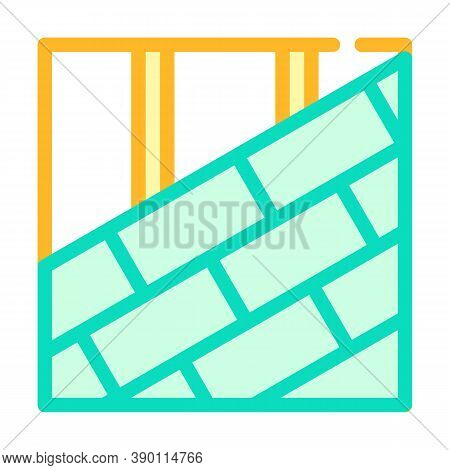 Roof Tiles Laying Color Icon Vector Illustration