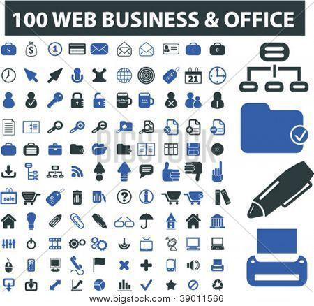 100 web business & office icons set, vector