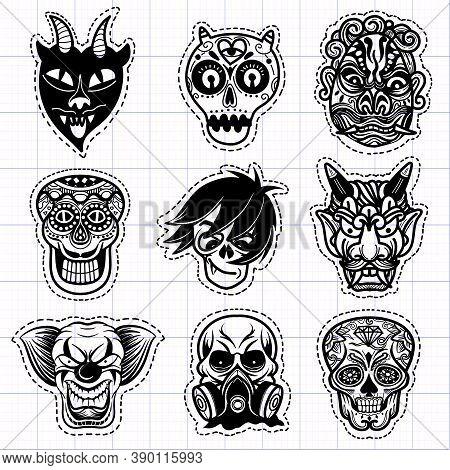Illustration, Halloween ,cute Hand Drawn Halloween Doodles , Illustration Of A Set Of Mask For Hallo