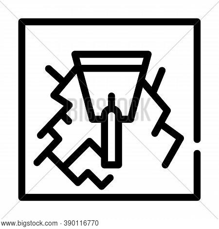 Wall Gaps Plaster Line Icon Vector Illustration