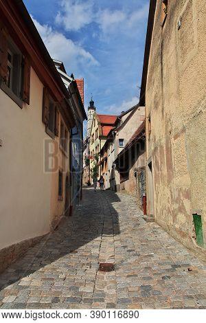 Rotenburg On Tauber, Bavaria, Germany - 12 Sep 2015: The Vintage Street In Rotenburg On Tauber In Ge
