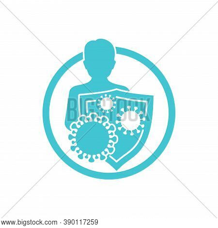 Immunity (immune System) Icon - Human Silhouette Protected By Shield From Microbes Virus Danger - Is