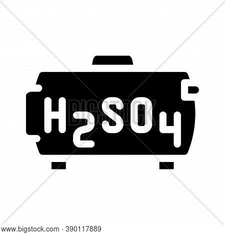 Sulfuric Acid For Obtain Uranium Glyph Icon Vector Illustration