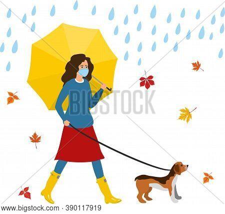 Rules For Walking Dogs During Caronovirus. Woman Walking Dog Wearing Medical Mask On Rain Umbrella