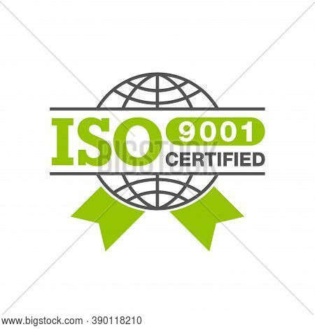Iso 9001 Certified Stamp - Quality Management System International Standard Emblem - Isolated Vector