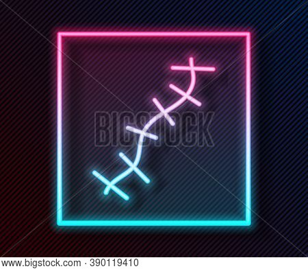Glowing Neon Line Scar With Suture Icon Isolated On Black Background. Vector