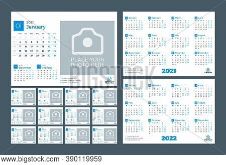 Calendar For January 2021. Vector Design Print Template With Place For Photo. Week Starts On Monday