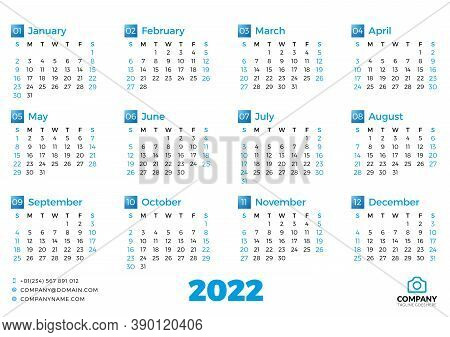 Simple Calendar Template For 2022 Year. Week Starts On Sunday. Vector Illustration