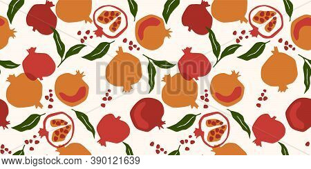 Vector Seamless Pattern With Pomegranate.modern Abstract Design For Paper, Cover, Fabric, Interior D
