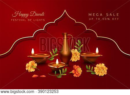 Diwali Festival Banner. Realistic 3d Composition Of Diwali Oil Lamp And Marigold Flowers