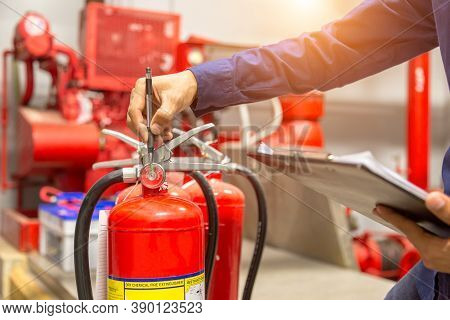 Engineer Checking Industrial Fire Control System,fire Alarm Controller, Fire Notifier, Anti Fire.sys