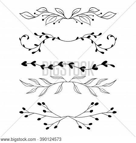 Vector Floral Text Divider. Floral Border Branch And Leaves Hand Drawn Border. Vignettes Cute Set Se