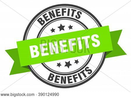 Benefits Label. Benefits Green Band Sign. Sticker