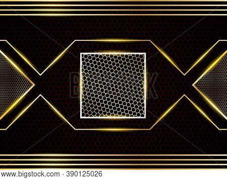 Luxurious Modern Carbon Fiber Background With Golden Glowing Shapes, Various Elements, Stripes And H