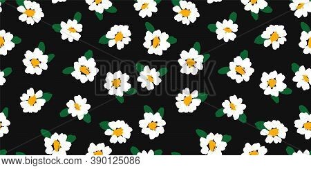 Abstract Floral Seamless Pattern With Chamomile. Trendy Hand Drawn Textures. Modern Abstract Design