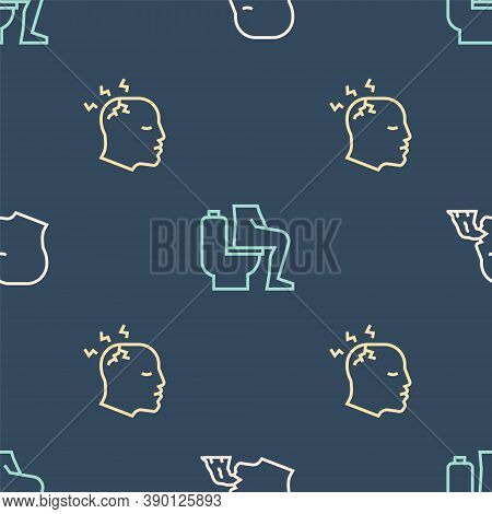 Set Line Vomiting Man, Man Having Headache And Constipation On Seamless Pattern. Vector
