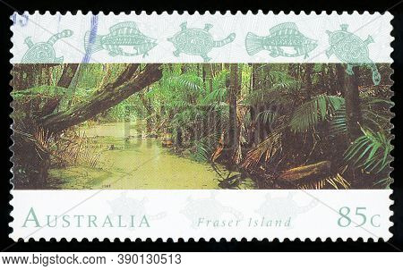 Australia - Circa 1993: A Stamp Printed In The Australia Shows Fraser Island, World Heritage Site In