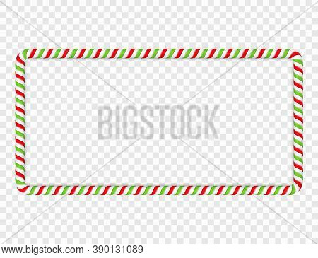 Horizontal Frame Made Of Red And Green Candy Cane, Vector Eps10 Illustration