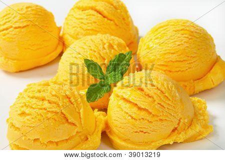 Freshly made scoops of ice cream