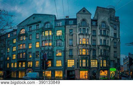 Art Nouveau Architecture On A Building Facade In Riga, Latvia. Jugendstil Architecture Building In M
