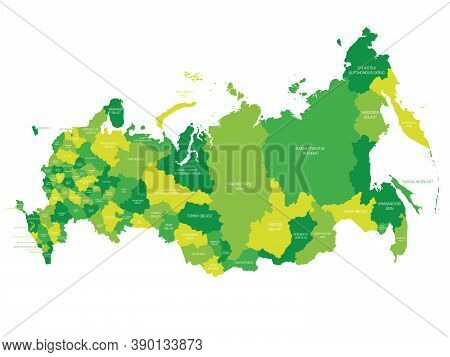 Green Political Map Of Russia, Or Russian Federation. Federal Subjects - Republics, Krays, Oblasts,