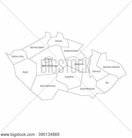 Regions Of The Czech Republic. Map Of Regional Country Administrative Divisions. Black Outline Vecto