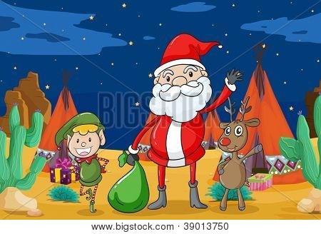 detailed illustration of a boy, a reindeer and santaclause