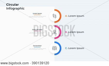 Vertical Chart With 3 Paper White Circular Elements Placed One Below Other. Concept Of Three Levels
