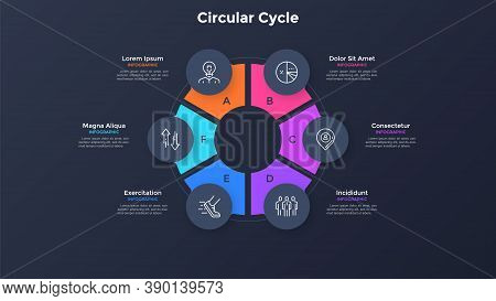 Round Ring-like Chart Divided Into 6 Colorful Sectors. Concept Of Six Stages Of Production Cycle. Si