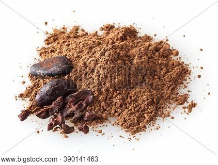 Heap Of Cacao Powder With Cocoa Beans Isolated On White Background