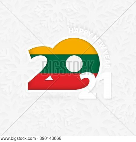 Happy New Year 2021 For Lithuania On Snowflake Background. Greeting Lithuania With New 2021 Year.