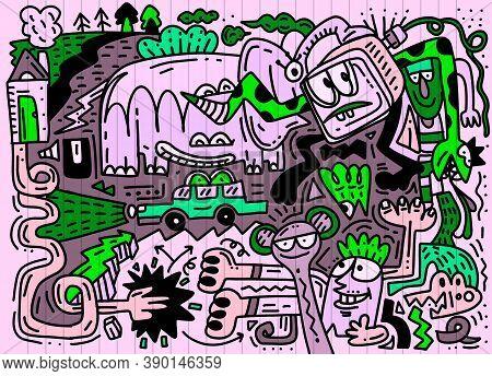 Cute Hand Drawn  Doodles ,cartoon Doodles Hand Drawn Town.
