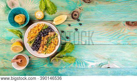 Ketogenic Diet Breakfast. Chicken Salad With Corn, Lemon, Mustard Blueberries. Keto Paleo Lunch. Top
