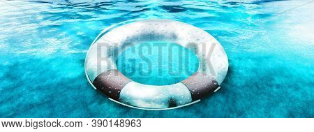 Safety Equipment Life Buoy Or Rescue Buoy Floating On Sea To Rescue People From Drowning Man. 3d Ill