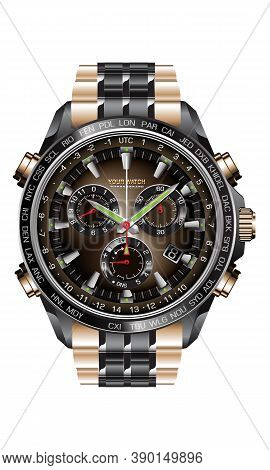 Realistic Clock Watch Chronograph Black Steel Copper Luxury On White Background Design For Men On Wh