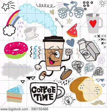 Cute Hand Drawn  Doodles ,coffee Time Doodle Drawing Collection.hand Drawn Doodle Illustrations In C