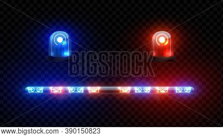 Realistic Ambulance Siren. 3d Red Blue Lamps Of Police Car On Transparent Background. Vehicle Electr