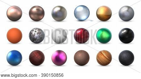 Texture Spheres. Realistic 3d Balls Of Different Material. Collection Matte And Shiny Round Forms Fr