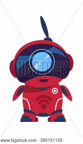 Friendly Robot Character. Red Android With Antenna. Smart Toy, Cartoon Electronic Mascot. Digital As