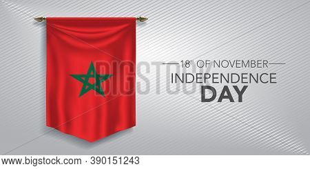 Morocco Independence Day Greeting Card, Banner, Vector Illustration