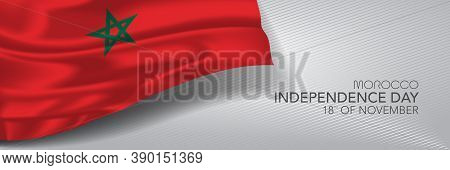 Morocco Independence Day Vector Banner, Greeting Card